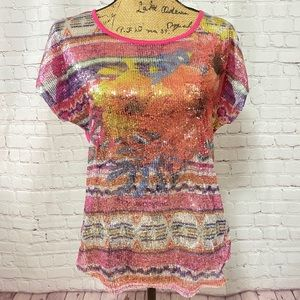 👚Cato Sheer Colorful Sequined Blouse